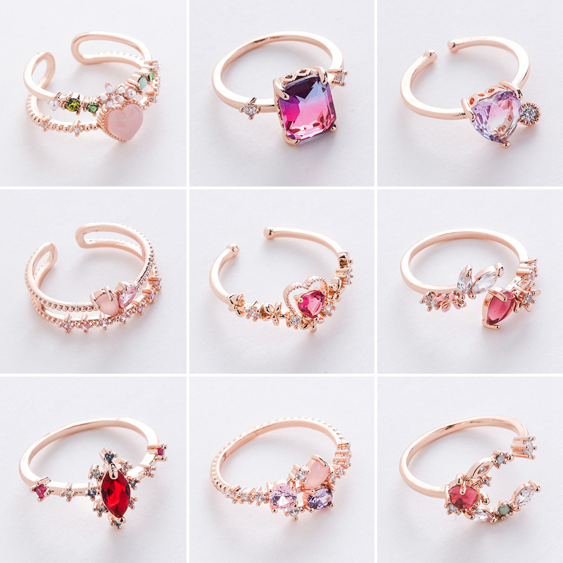 New Fashion Micro inlaid Crystal Zircon Rings Sweet Elegant Flower Ring for Girl Women Finger Bague jewelry Bridal Gift Delicate|Rings|   - AliExpress