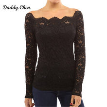 Sexy Women Blouse Transparent Chiffon Lace Blouse Off Shoulder Tops Feminine Black Shirts Long Sleeve Women Blouse Slash Neck(China)