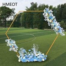 Arc Hexagonal en fer forgé pour décoration de mariage, étagère en or blanc, support pour fleurs, en diamant