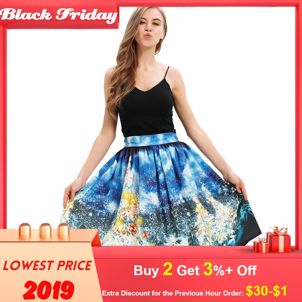 Christmas Long Skirt Fashion Women Santa Digital Printed Stretchy Flared A Line Skirt Faldas Mujer Moda 2020