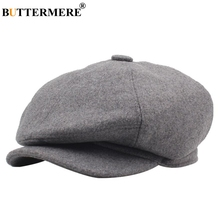 BUTTERMERE Beckham Newsboy Hat Men Women Duckbill Beret Solid Flat Ivy Autumn Winter Warm Male Female Black Octagonal Cap