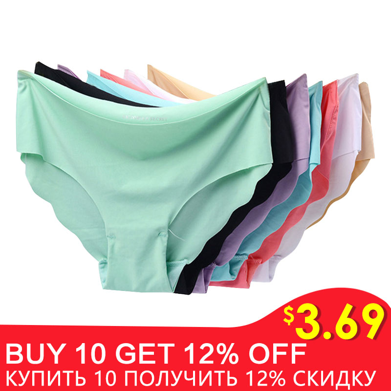 3pcs/lot Sexy Panties For Women Briefs Set Seamless Lingerie Solid Mid-Waist Cotton Panty Female Underpants Underwear #F