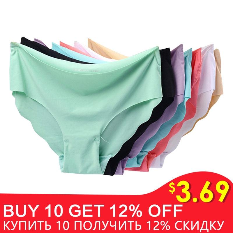 3pcs/lot Sexy Panties For Women Briefs Set Seamless Lingerie Solid Mid-Waist Cotton Panty Female Underpants Underwear #F