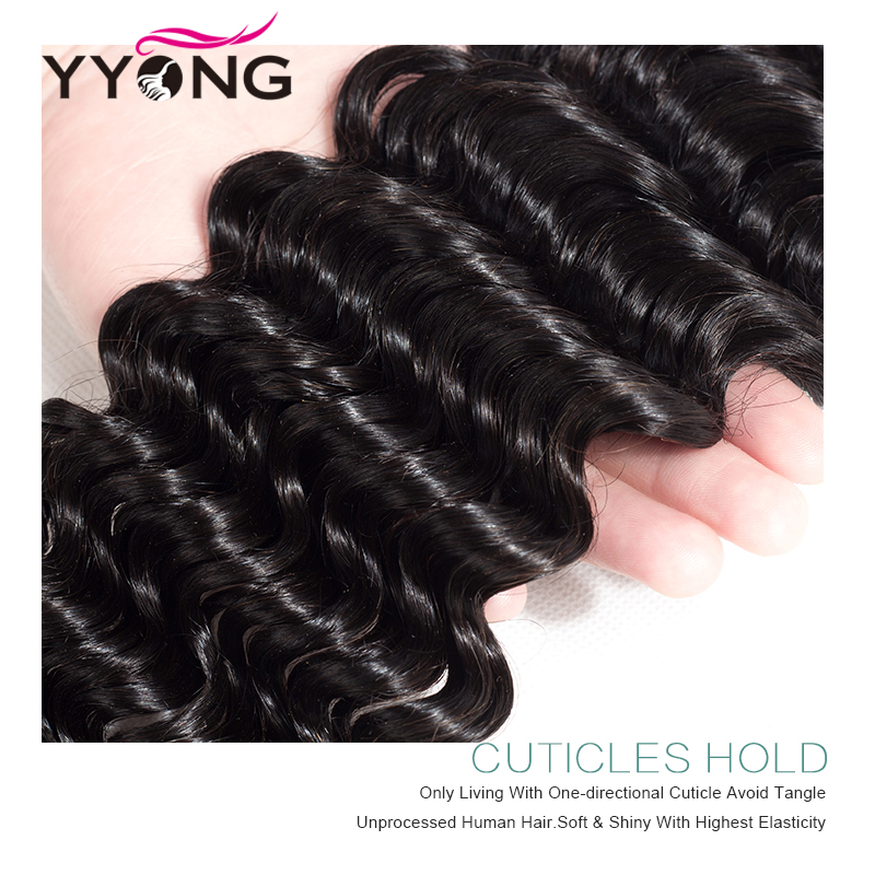 Deep Wave 3 Bundles With Frontal Ear To Ear Lace Frontal With Bundles  Bundle With Closure Middle Ratio 5