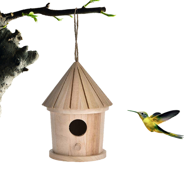 Wooden Hanging Bird House - Natural  1