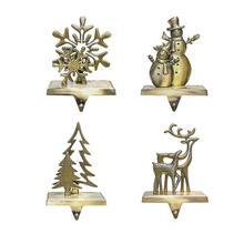 Metal Christmas Hooks Hanger Holder Snowflakes Stocking Holders Non-Skid Hooks Hanger For Fireplace Christmas Decor Xmas Gifts