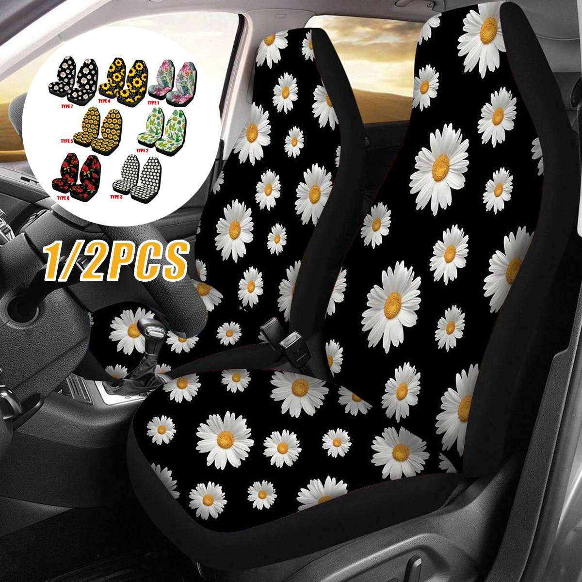 2pcs Front Car Seat Covers Automobile Seat Protector Soft Universal Fashion Pattern Plant for Most Car SUV Truck Van|Automobiles Seat Covers| |  - title=