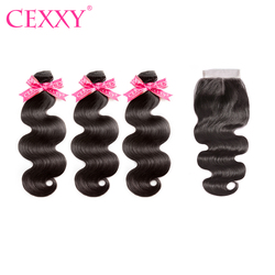 CEXXY doczepy typu Body Wave z zamknięcia brazylijski włosy wiązki wyplata ludzkich włosów z pierwszego tłoczenia włosy dwukrotnie wyciągnąć do przedłużania włosów