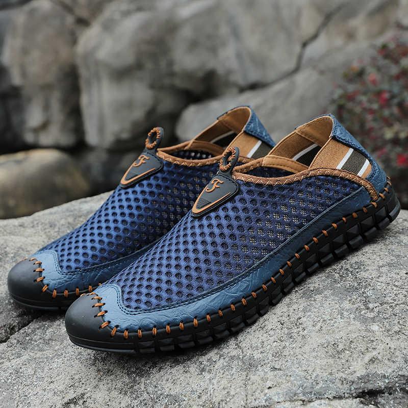 Yaz hakiki inek deri tırmanma ayakkabı erkekler Trekking balıkçılık ayakkabı erkek nefes hava Mesh spor ayakkabı yukarı spor ayakkabılar adam