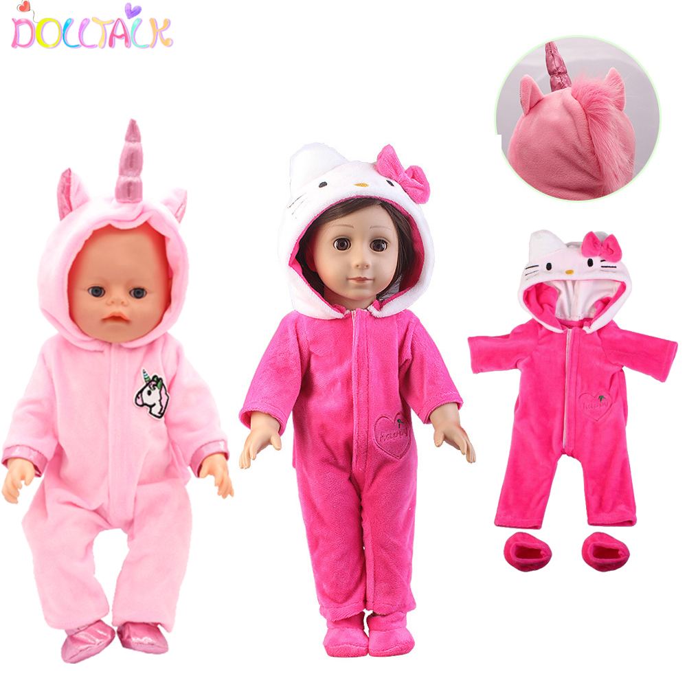 2pcs Unicorn Kitten Doll Clothes Suit Outfit For Our Generation Born Baby Doll Fit 18 Inch 43cm Doll Girls Birthday Gift