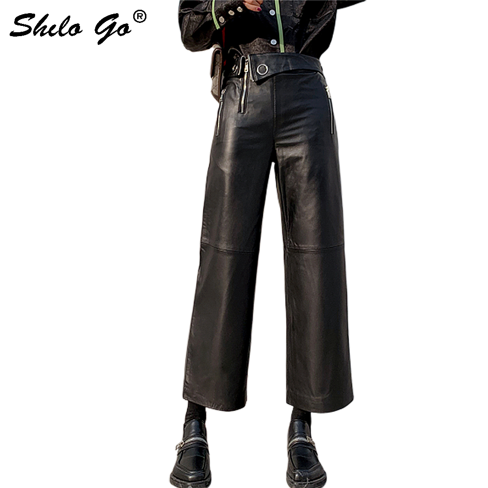 Genuine Leather Pants Highstreet Turn Down Waist Sheepskin Wide Leg Pants Women Autumn Winter Office Lady Workwear Plus Trousers