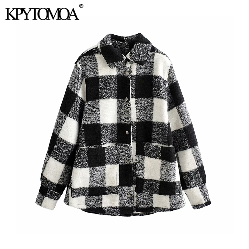 Vintage Stylish Pockets Plaid Loose Woolen Jacket Coat Women 2020 Fashion Lapel Collar Long Sleeve Female Outerwear Chic Tops