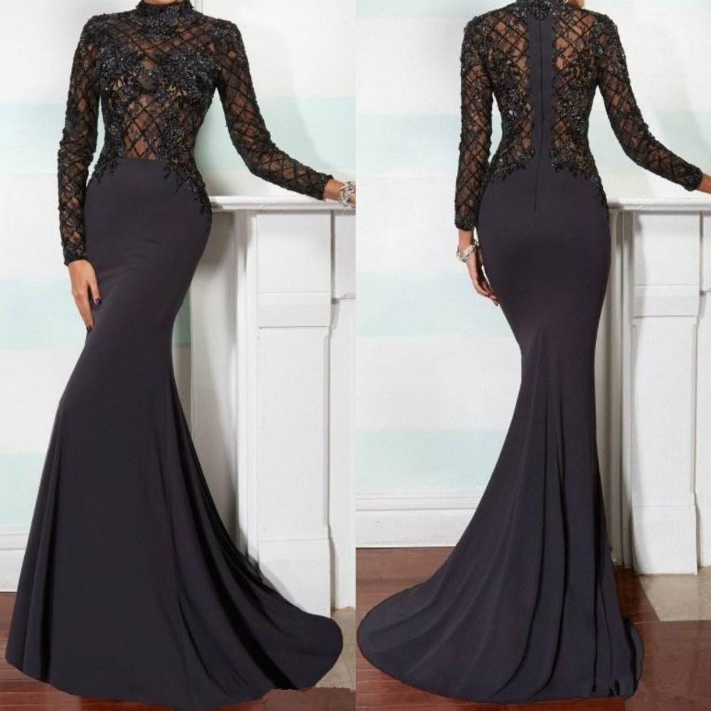 Elegant Mermaid Mother Of The Bride Dresses 2020 High Neck Long Sleeve Farsali Lace Applique Black Beads Crystals Evening Gown