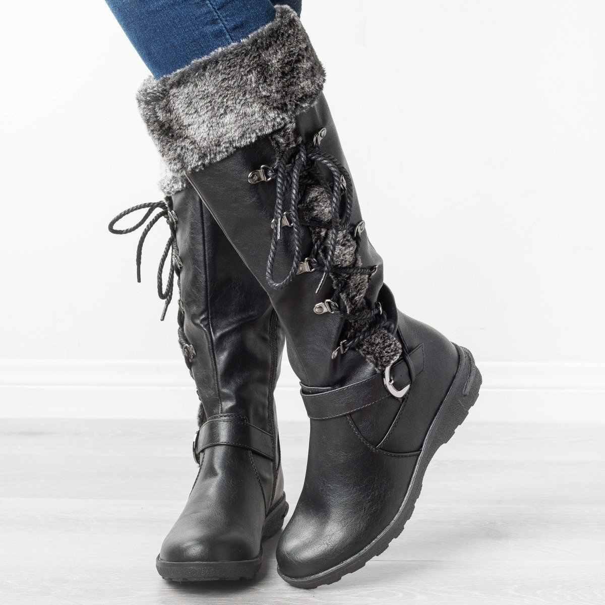 Litthing kobieta koronka wysokie buty zimowe ciepłe pluszowe długie botki pani gruby obcas platformy Sapatos Feminino