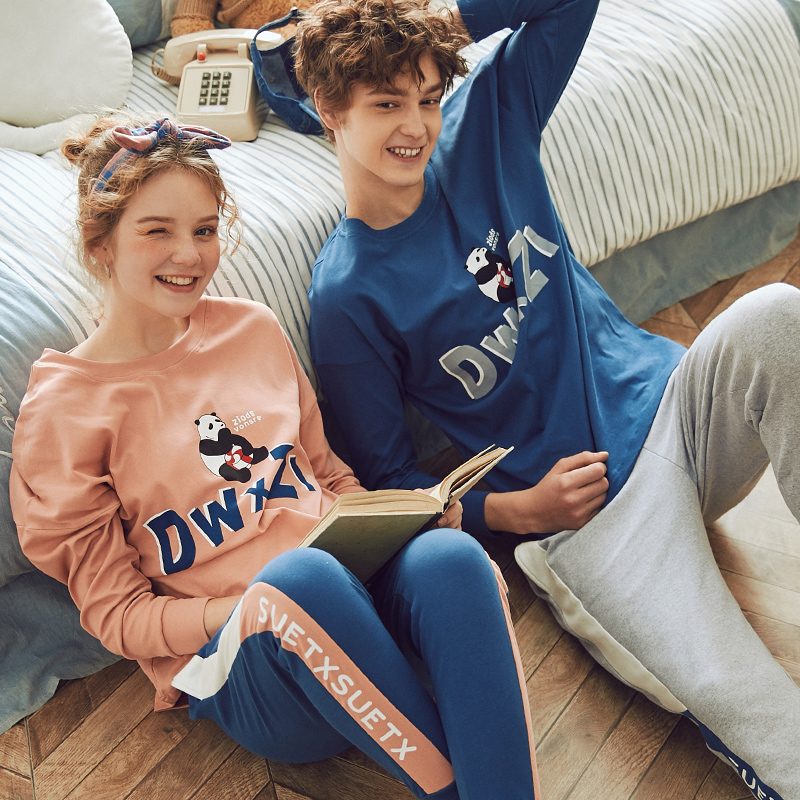 Chinese Pajamas Sleepwear Men And Women Homesuit Homeclothes 100% Cotton Crew Neck Long Sleeve Long Pants Pajama Set Pj Set