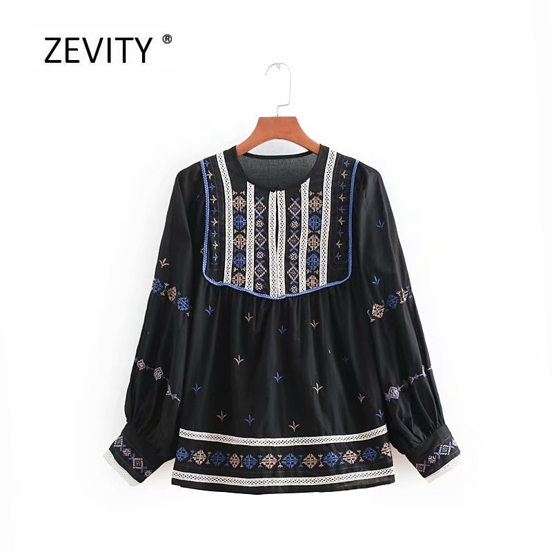 2018 new women vintage embroidery lace spliced kimono casual smock blouse autumn chic shirt retro femininas blusas tops LS2606