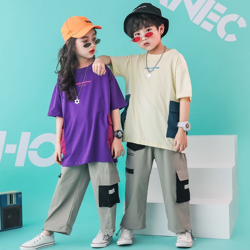 Children Hip Hop T Shirt Pant Dance Costumes For Girls Boys Competition Dancing Costumes Jazz Ballroom Clothing Dancewear LJ