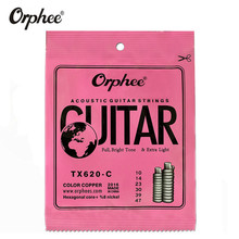 Orphee TX620-C 010-047 Acoustic Guitar Strings Hexagonal core+8% nickel COLOR COPPER Bright tone Extra light guitar Accessories martin m170 80 20 bronze round wound extra light acoustic guitar strings 010 047