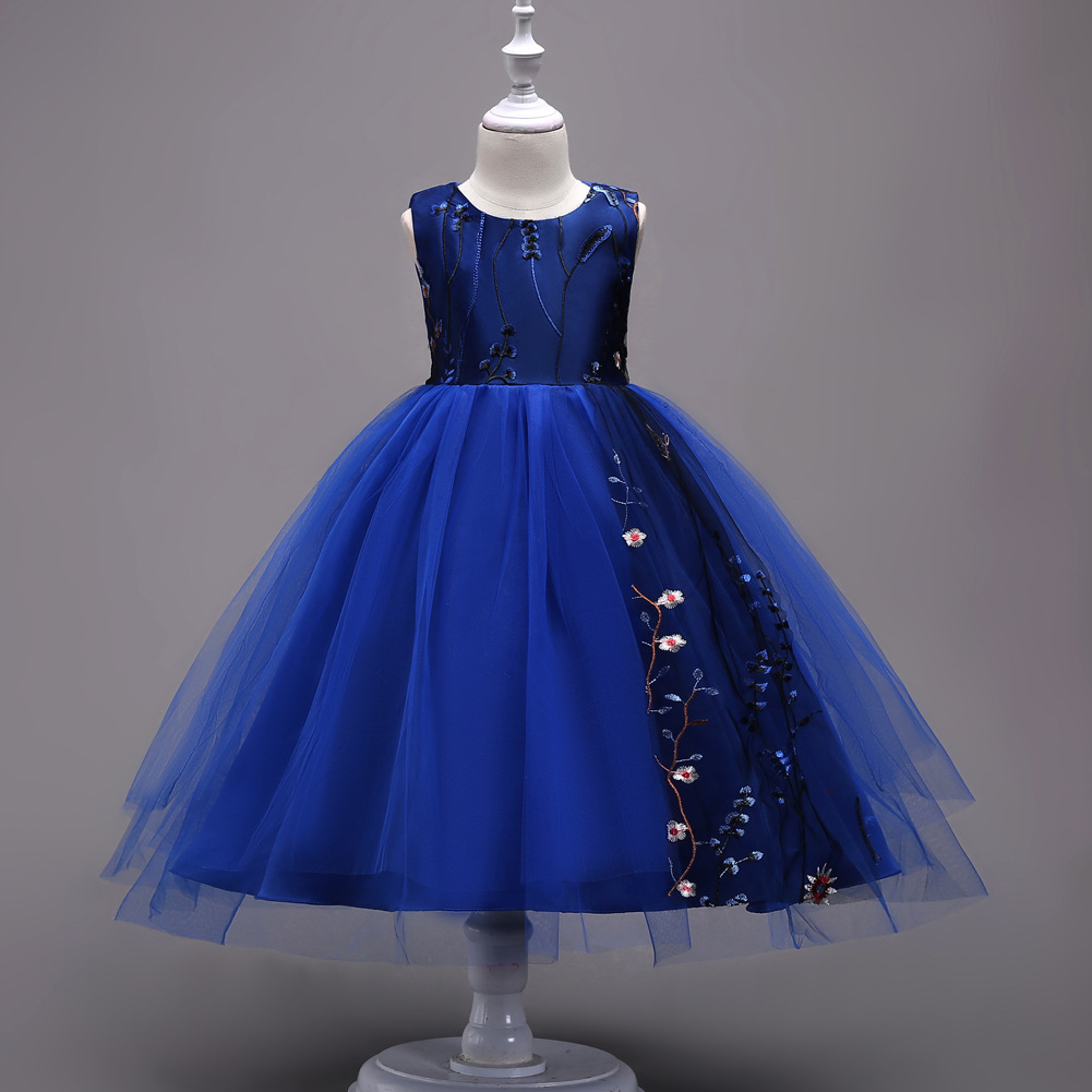 Korean-style Childrenswear Girls Solid Color Princess Dress Petal Mesh Dress Children Wedding Dress
