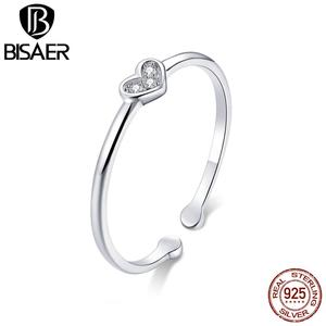 Image 5 - Hot Sale BISAER Purple Crystal Original 925 Sterling Silver Ring Love Heart Infinity Finger Rings for Women Engagement Jewelry