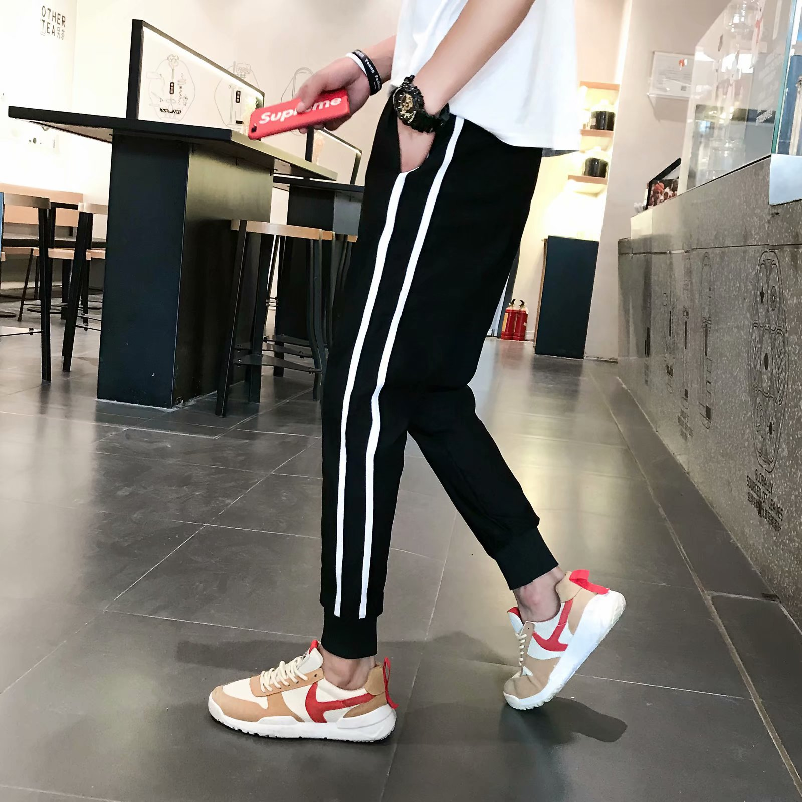 Autumn Thin Parallel Bars Athletic Pants Men's Casual Pants Slim Fit Skinny Pants Stripes Two Carry Students Er Dao Gang Pants