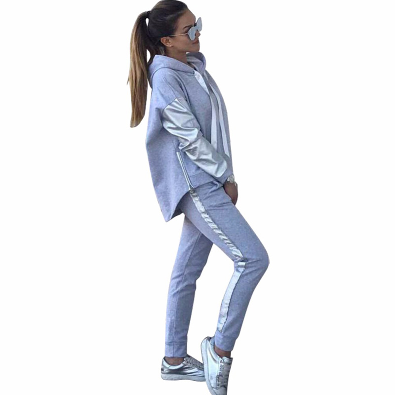 Streetwear Cotton Casual Tracksuit Women's Autumn Winter Zipper Irregular Stitching Hoodies Long Pant Two Piece Suit Pullovers