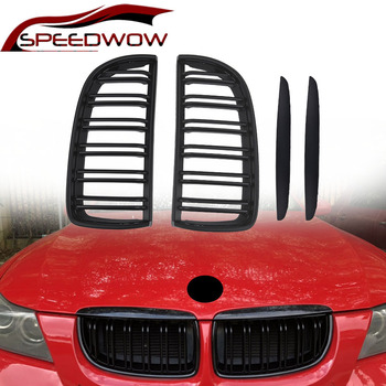 SPEEDWOW Car Front Grille Car Front Left And Right Grilles For BMW E90 2005 2006 2007 2008 Car Exterior Parts Gloss Matte Black image