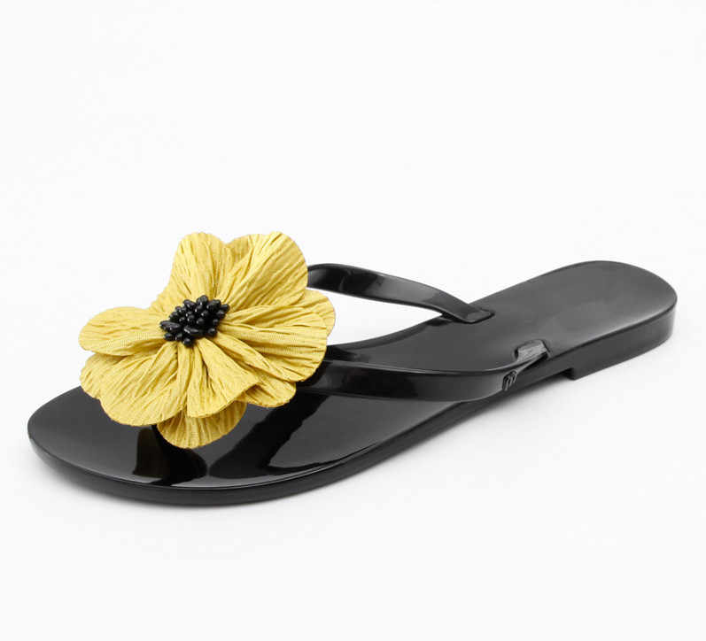 BEYARNE 韓国スタイルのファッションの女性ゼリービーチサンダル女性のフリップは、フラット雨スライドボウタイ女性夏のスリッパの靴 36 -41