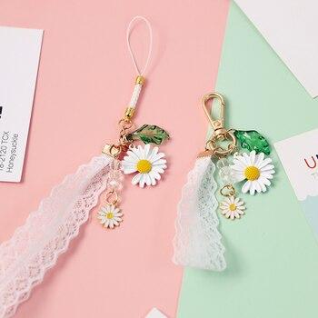 Bonito llavero de tela de margaritas con girasol adorable de Corea del 2020, llavero de encaje para mujer, llavero de anillo con colgante para bolso de coche D578