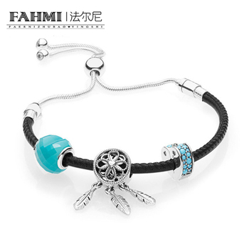 2020 100% 925 Sterling Silver 1:1 Genuine New Charm Summer Moving Women's Black Hand Strap Handwear Original Women Jewelry