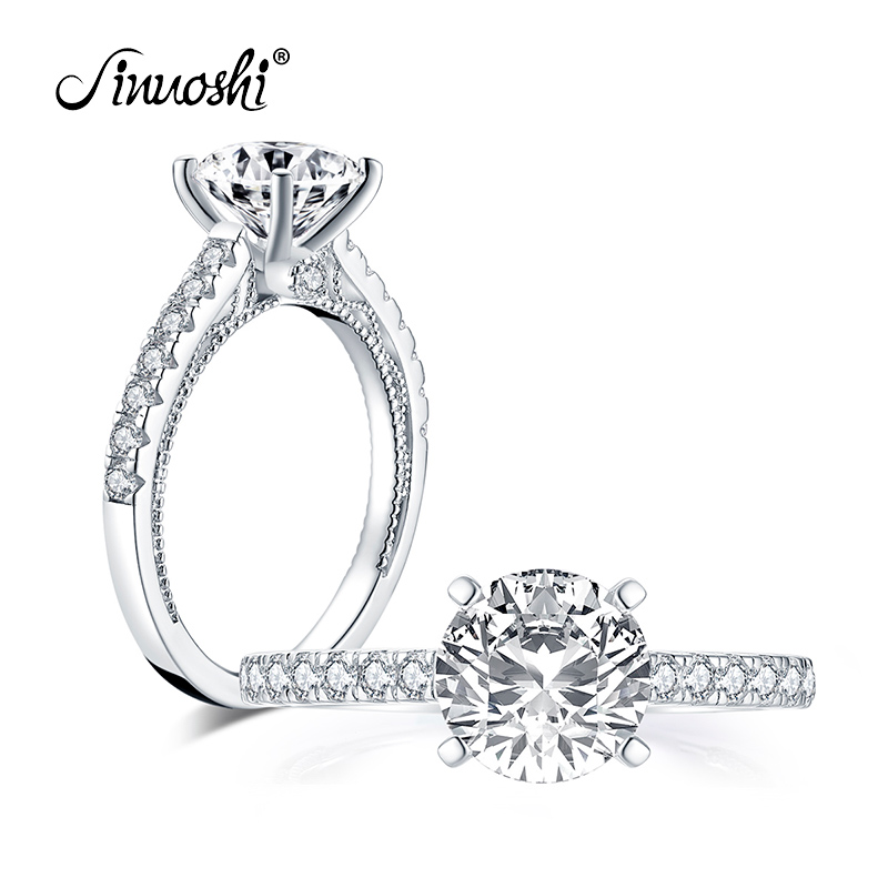 AINUOSHI Fashion 925 Sterling Silver 8.0mm Round Cut Engagement Ring Simulated Diamond Wedding 2.0ct Bridal Ring Jewelry Gifts
