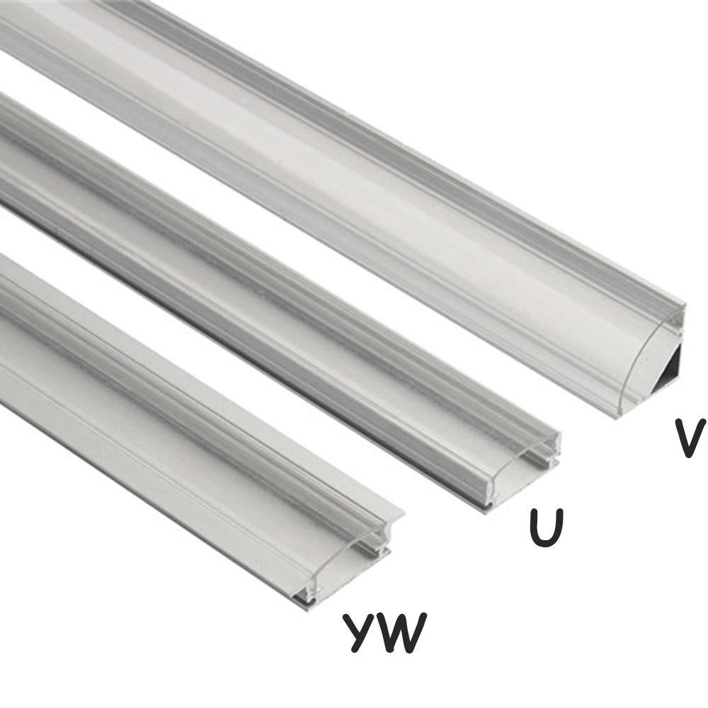 Led Bar Light Housing LED Aluminum Profile Rectangle V U YW Shape For Strip Lights Wide Cutable With End Cap Fastening Clip