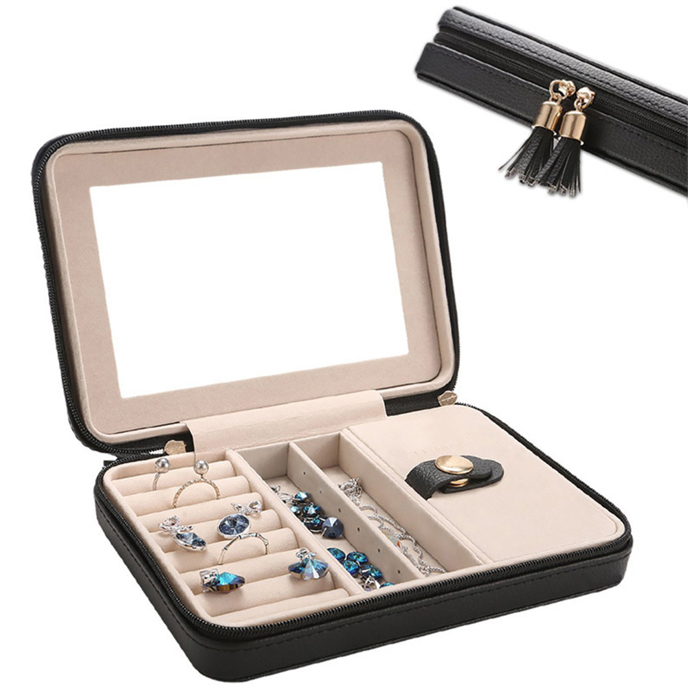 Jewelry Box Small Travel Zipper With Mirror Women Cases Gifts Portable Storage Organizers Display Black PU Leather