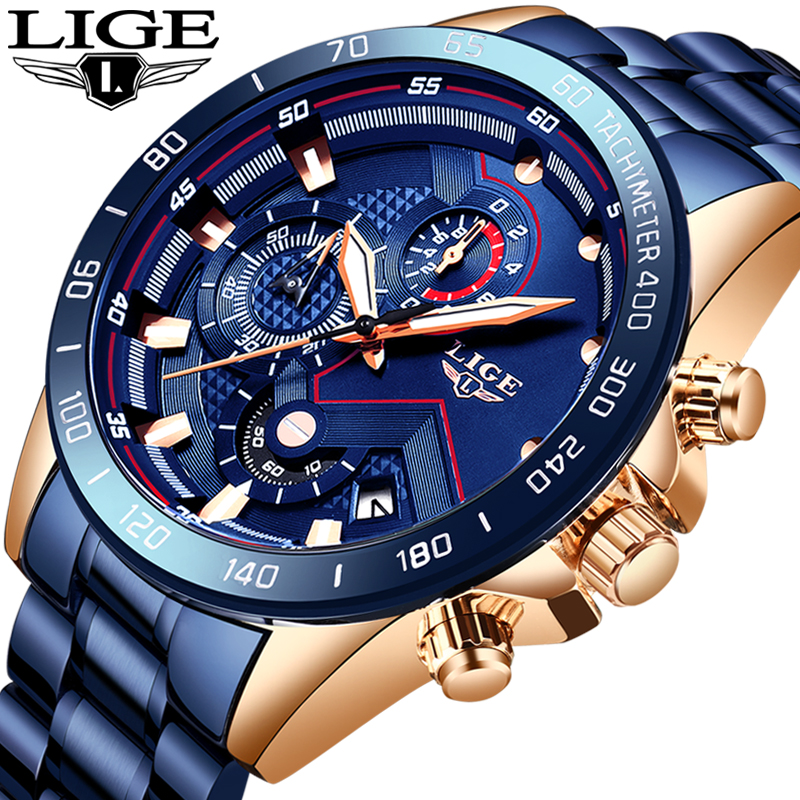 LIGE Men Watch Top Brand Luxury Blue All Steel Wrist Watch Chronograph Army Military Waterproof Quartz Watches Relogio Masculino