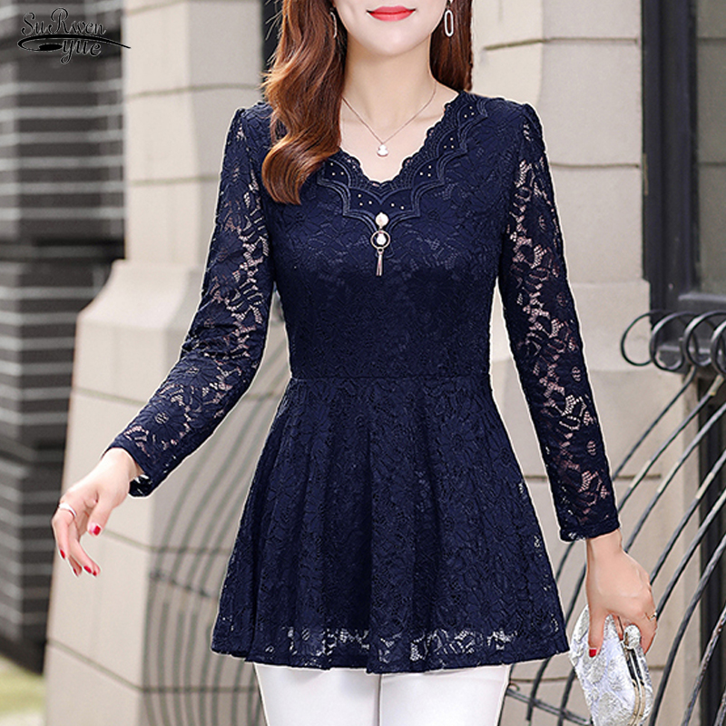 2019 New Long Sleeve Solid Lace Blouse Women Shirt OL Sexy Floral Plus Size Pullover Lace Women Shirt Tops Camisas Mujer 6827 50