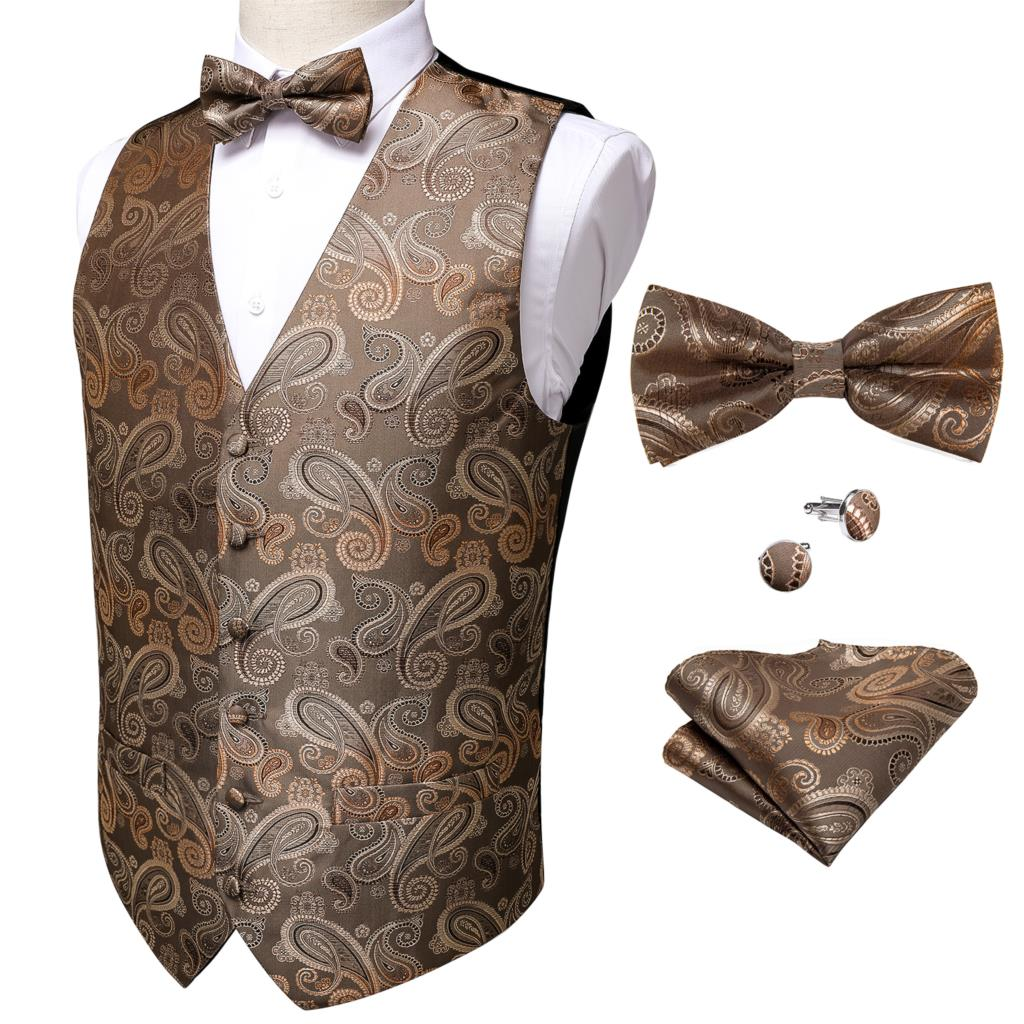 Men's Classic Paisley Jacquard Waistcoat Vest Barry.Wang Silk Vest Party Wedding Bowtie Brown Vest Hanky Cufflinks Set DiBanGu