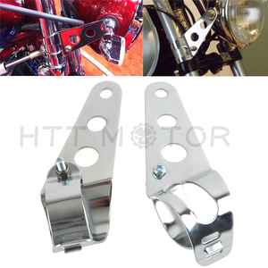 Aftermarket free shipping motorcycle parts Chrome Headlight Mount Bracket Fork Ear Motorcycle Bobber Cafe Racer 28/34mm