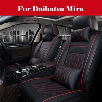 Car Seat Cover Waterproof PU Leather Cushion Anti Slip Suede Backing Universal Leather Seats Easy to Clean For Daihatsu Mira