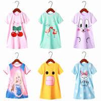 Camisón de manga corta para niña, pijama para niña, bonito 100% de algodón para niño, vestido de dormir para bebé de talla 3, 4, 5, 6, 8 y 10 años