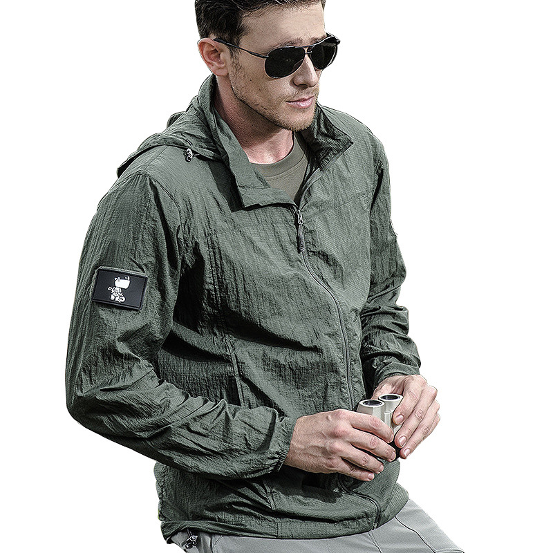 Lightweight Waterproof Tactical Jacket Men Summer Breathable Thin Hoody Raincoat Military Portable Windbreaker Army Skin Jackets