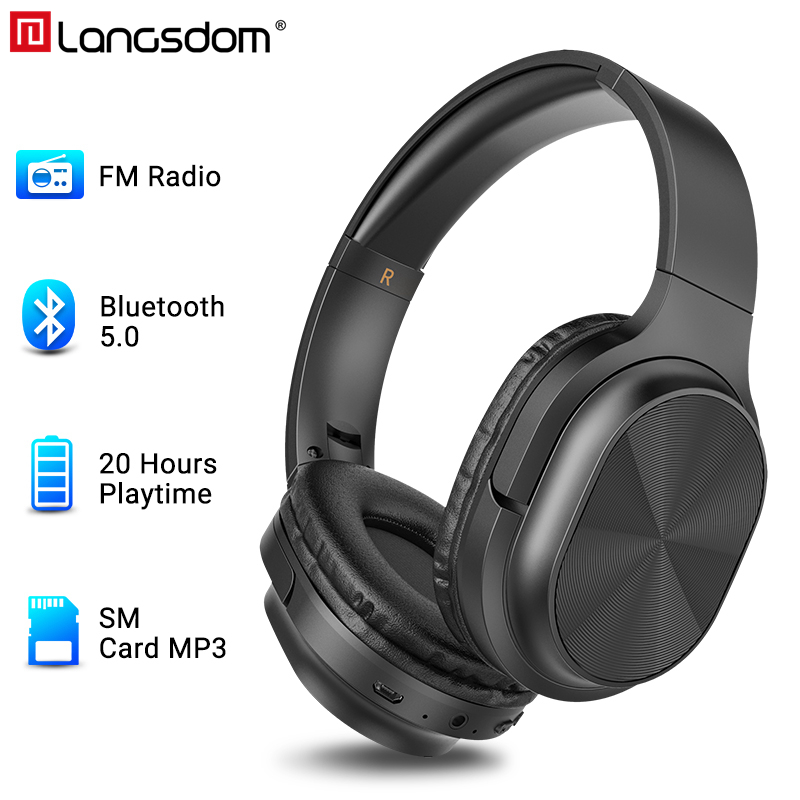 Langsdom BT18 Bluetooth Headphones Over-Ear Wired&Wireless Headphone Stereo Gaming Headset With Mic Support TF Card MP3 FM Radio