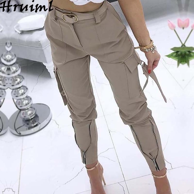 Hot Women Pants Slim Pocket Solid Color Streetwear Pants Female Fashion Casual Plus Size S-5XL Zipper Tie Feet Trousers Women