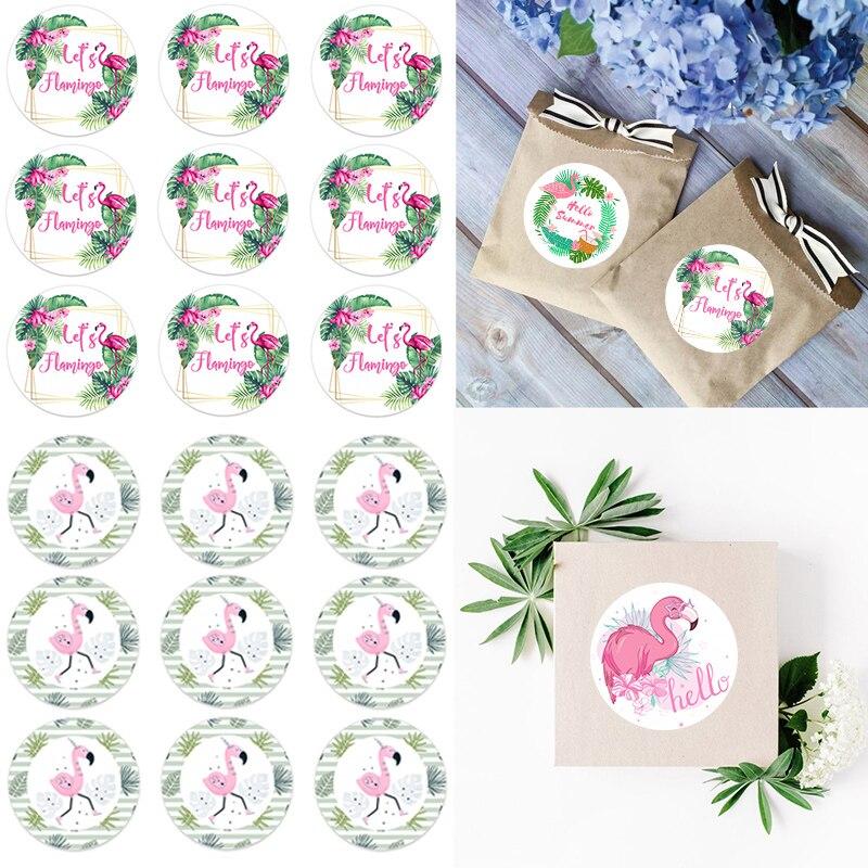 Luau flamingo adesivo havaiano para decoração, caixa de presente, 4.5cm, verão, festa, casamento, decoração