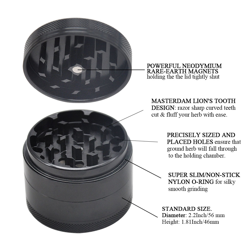 Masterdam Rolling Supplies 63mm Herb Grinder with Pollen Catcher 4 Piece Aluminum Metal Smoking Smoking Grinders 4