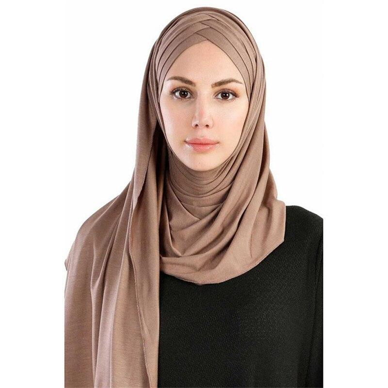 2020-Women-Plain-Soft-Cotton-Jersey-Scarf-Head-Hijab-Wrap-Instant-Shawls-foulard-femme-muslim-Hijabs (3)