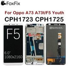 """ل 6.0 """"ممن لهم F5 شاشة الكريستال السائل مجموعة المحولات الرقمية لشاشة تعمل بلمس A73 A73t ل ممن لهم F5 LCD مع الإطار CPH1723 CPH1725 استبدال"""
