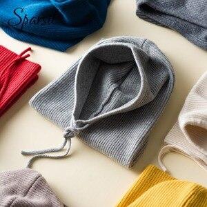 Image 4 - Sparsil Unisex kış kaşmir örme kapşonlu yaka çıkarılabilir elastik şapka erkekler ve kadınlar sıcak kalın yün boyun Wrap İpli kapaklar