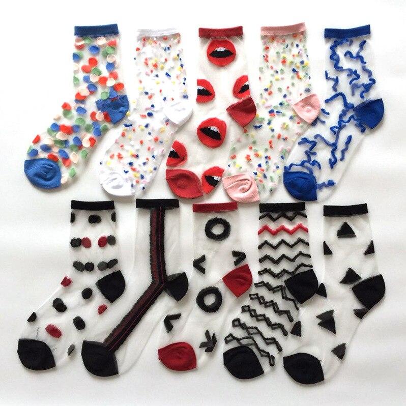 1 Pair Breathable Ultra Thin Socks Summer Women Transparent Lace Silk Crystal Floral Girls Elastic Short Socks Female Sox
