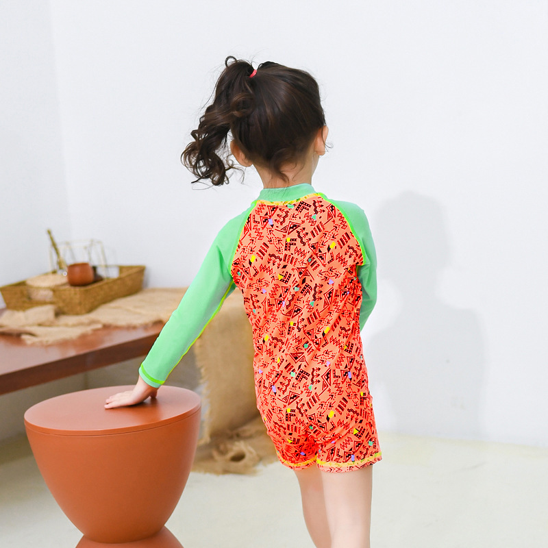 2019 New Style Girls' Swimsuit Fashion Cute Cartoon GIRL'S Long-sleeve One-piece Swimming Suit