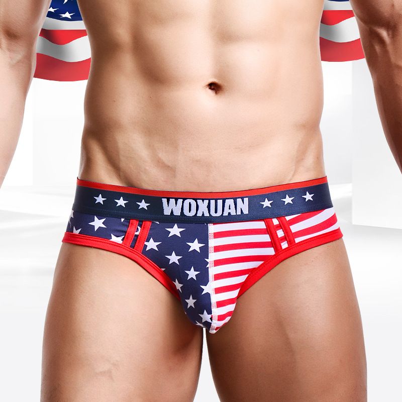 Mens Cotton USA Flag Tank Top Vest Underwear Boxer Briefs Shorts Thongs Panties